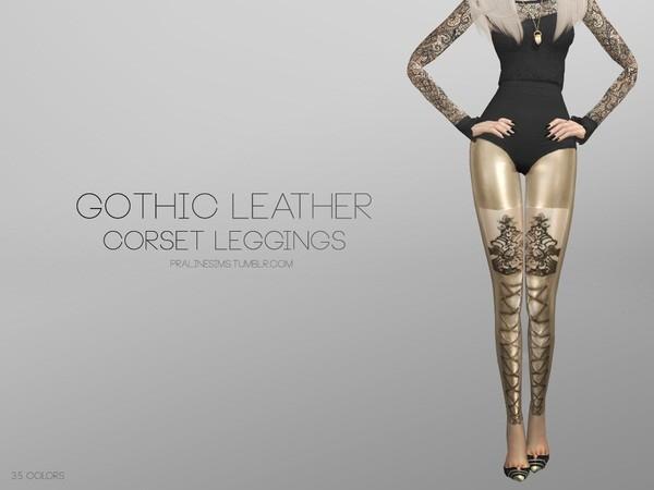 模拟人生4哥特风皮革材质绑腿打底裤MOD截图0