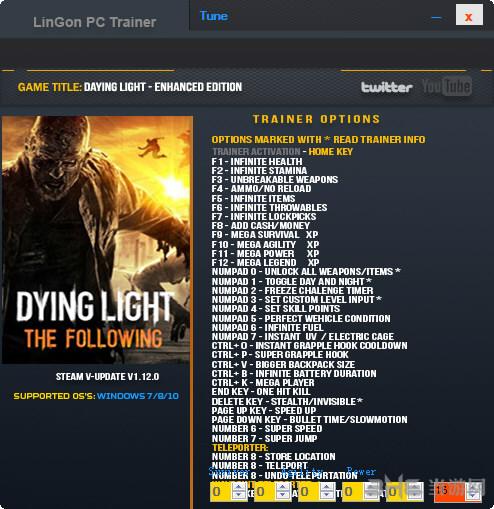 消逝的光芒:加强版三十五项修改器截图0
