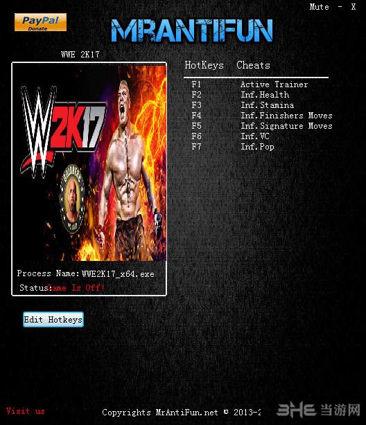 美国职业摔角联盟2K17六项修改器截图0