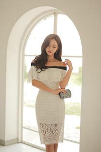 气质美女时尚蕾丝贴身裙 一颦一笑皆是优雅大气