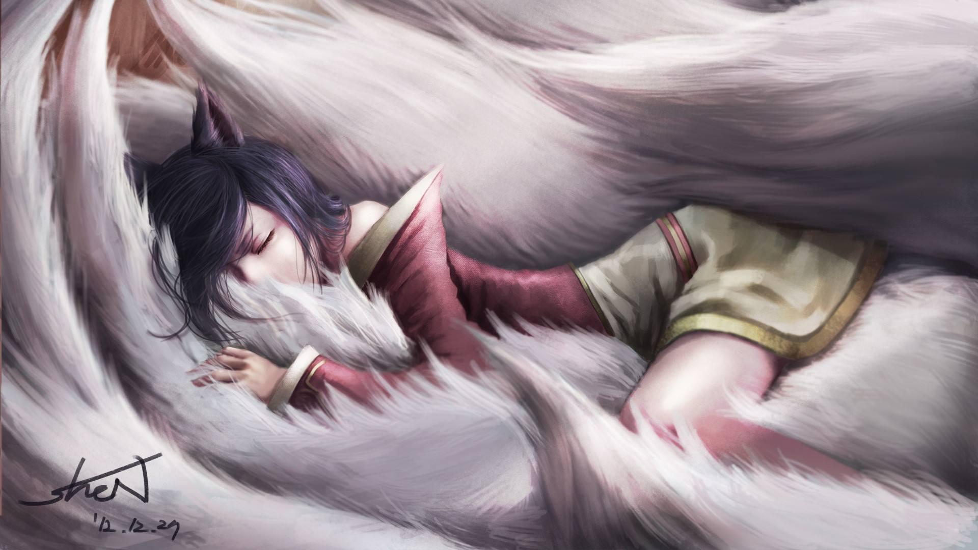 lol阿狸游戏壁纸 英雄联盟九尾妖狐阿狸高清唯美游戏壁纸图片