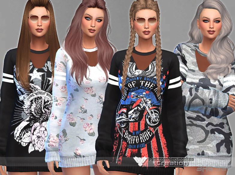 模拟人生4 v1.31女式秋季流行长毛衣服装MOD包截图0