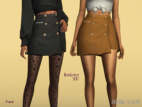 模拟人生4 v1.31Barbara女士裹臀排扣迷你小短裙MOD截图0