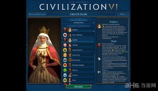 文明6v1.0.0.194五代领袖西班牙伊莎贝拉MOD截图0