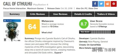 克苏鲁的呼唤Metacritic评分