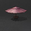 红白间条太阳伞