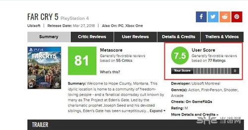 孤岛惊魂5ps4玩家评分图片