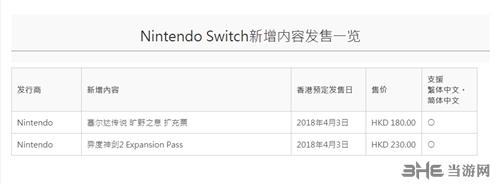 任天堂eshop港服DLC价格表