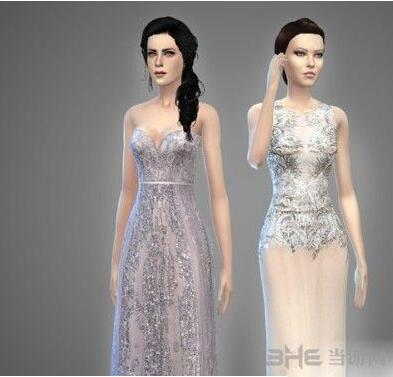 模拟人生4女性高档蕾丝雪纺礼服MOD截图2