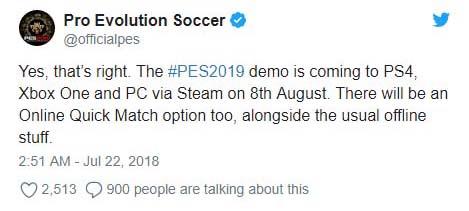 实况足球2019官方推特截图