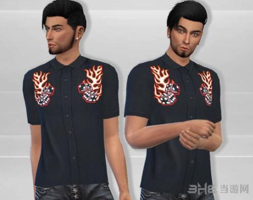 模拟人生4男士刺绣衬衫MOD截图0