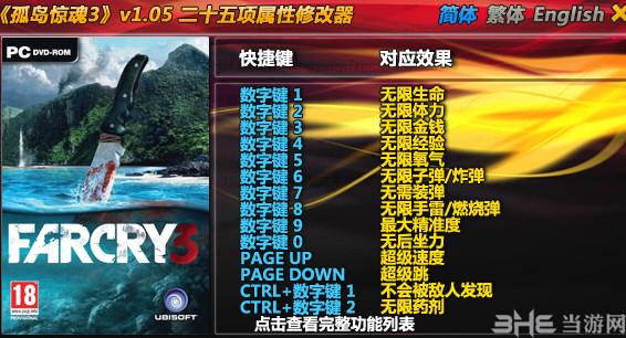 孤岛惊魂3二十五项修改器风灵月影版截图0