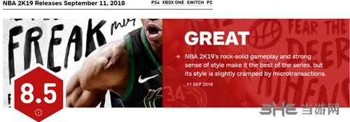 NBA2K19IGN评分