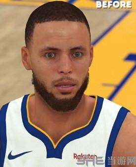 NBA2K19斯蒂芬库里薄发和短发面补MOD截图1