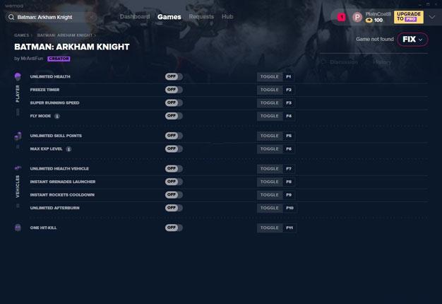 蝙蝠侠:阿卡姆骑士十一项修改器截图0