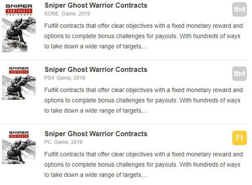 《狙击手:幽灵战士契约》M站评分