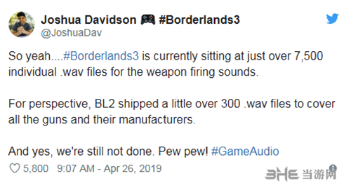 GearBox的音效设计师推特