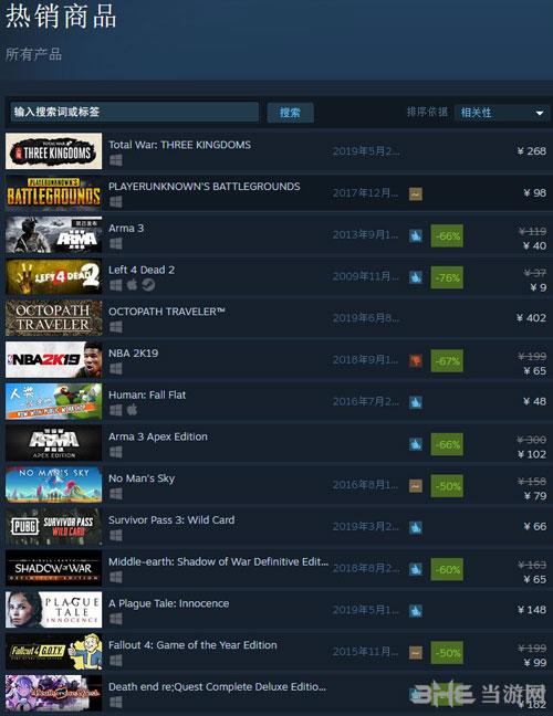 Steam国区热销榜截图