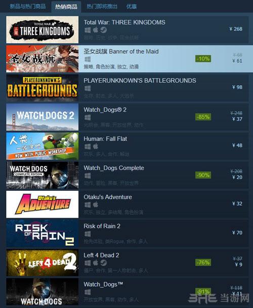 《圣女战旗》Steam销量仅次于全战三国