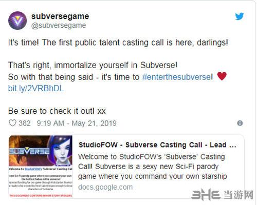马头社发推为《Subverse》招募声优