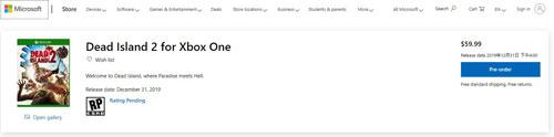 《死亡岛2》XBOX预购页