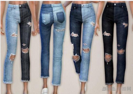 模拟人生4女性双色破洞牛仔裤MOD截图0