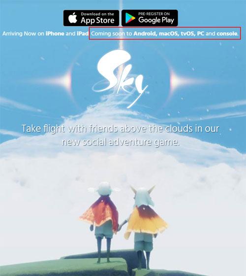 《Sky光·遇》官网消息