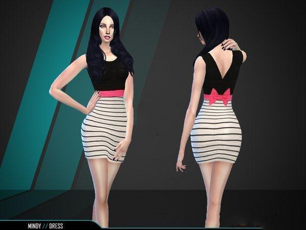 模拟人生4黑白条纹蝴蝶结连衣裙MOD截图0