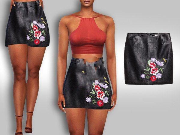 模拟人生4黑色皮质印花短裙MOD截图0