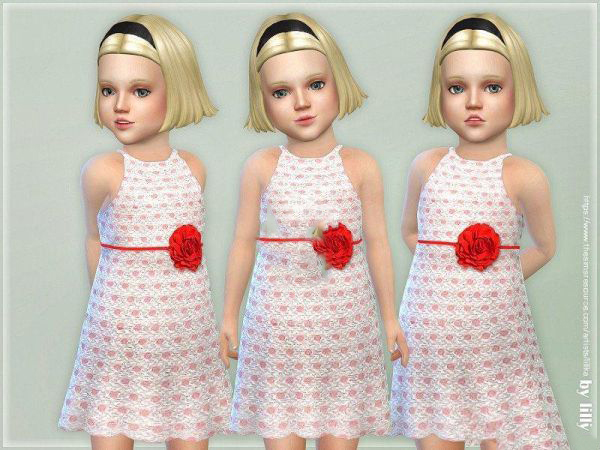 模拟人生4女孩可爱的玫瑰花长裙MOD截图0