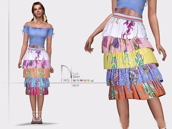 模拟人生4多层次彩色长裙MOD截图0