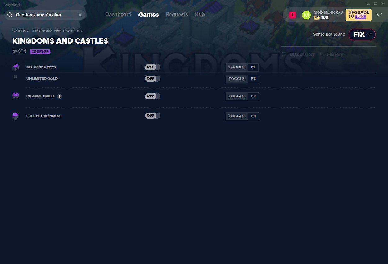 王国与城堡四项修改器截图0