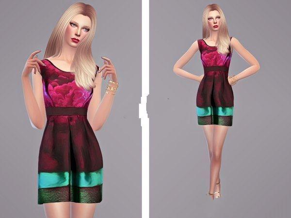 模拟人生4渐变色分层连衣裙MOD截图0