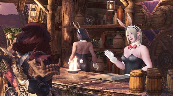 怪物猎人世界集会所女孩们的兔女郎套装MOD截图0