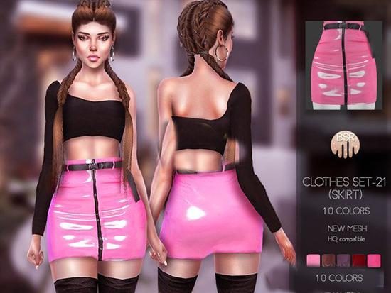 模拟人生4女性粉色拉链皮裤MO截图0