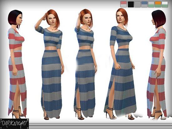 模拟人生4简约条纹长裙MOD截图0