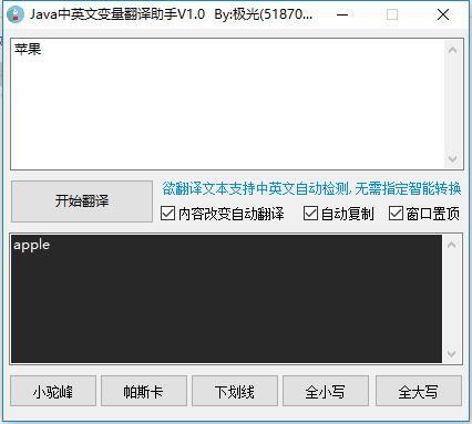 Java中英文变量翻译助手