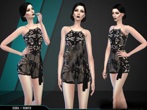 模拟人生4黑色蕾丝吊带连衣裤MOD截图0