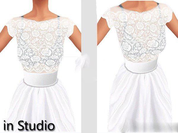 模拟人生4白色蕾丝透明婚纱MOD截图0
