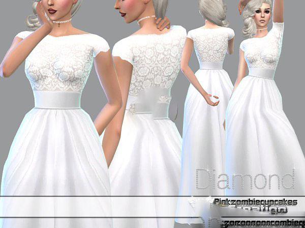 模拟人生4白色蕾丝透明婚纱MOD截图1