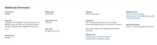 《僵尸部队4》Xbox One详情