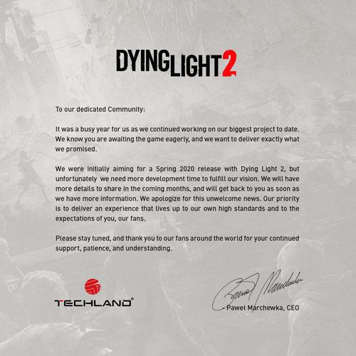 《消逝的光芒2》延期消息