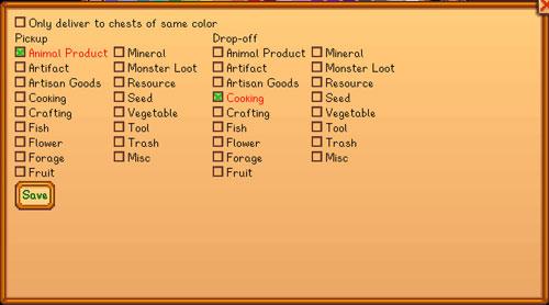 星露谷物语储物箱同类物品自动转移功能MOD截图1