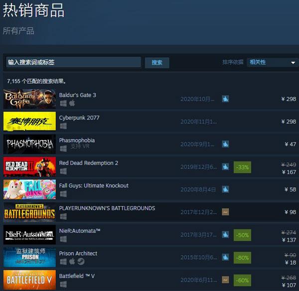 《博德之门3》Steam热销榜