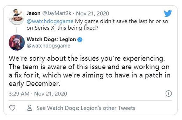 《看门狗:军团》推特截图