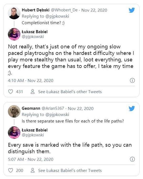 《赛博朋克2077》 开发者推特截图
