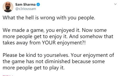 前制作人Sam Sharma推特回应