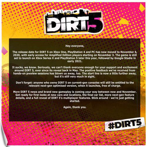 《尘埃5》再次宣布跳票 本世代版将于11月6日发售