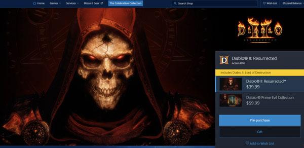 《暗黑破坏神2》预购页面