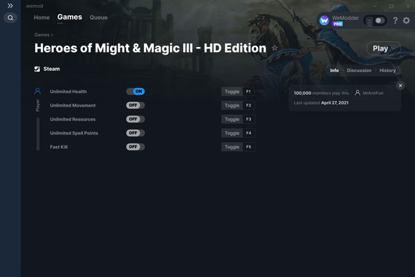 魔法门之英雄无敌3高清版五项修改器截图0